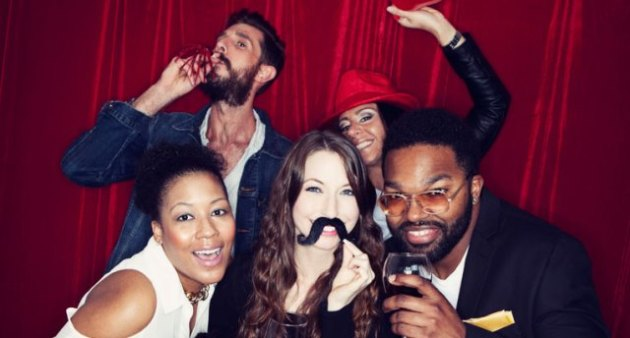 Portraits: Group Of Friends Having Fun In Photo Booth